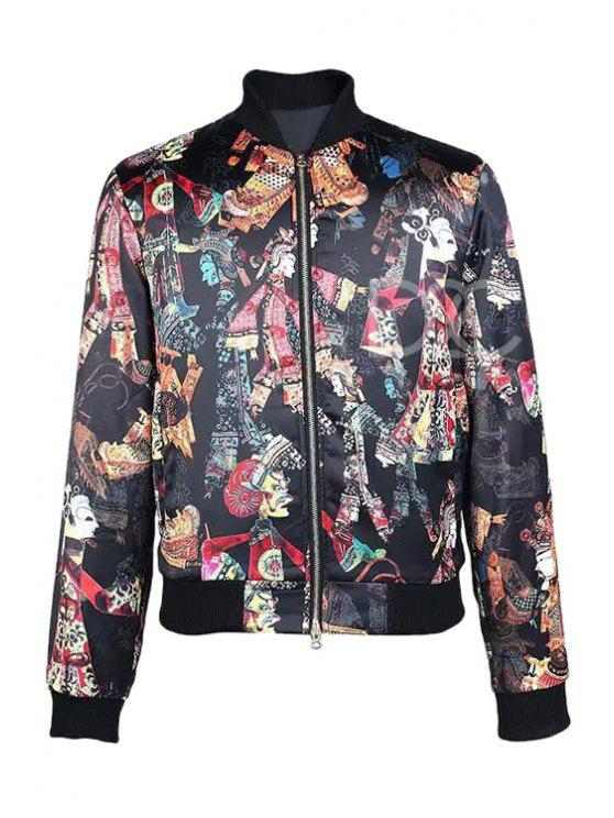 outfits Shadow Puppet Print Zipper-Fly Jacket - BLACK S