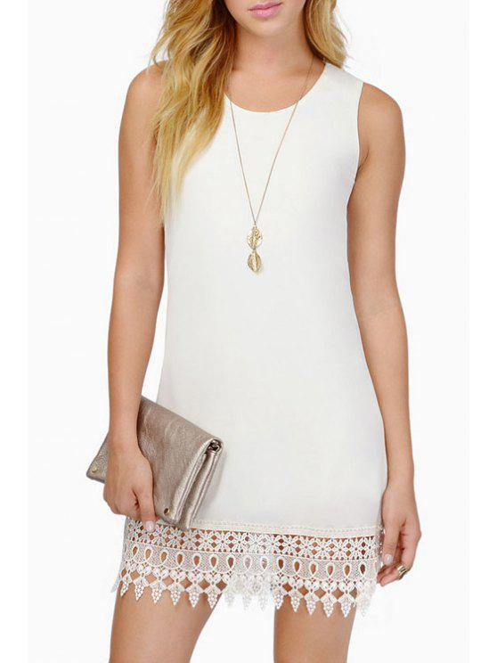 sale Lace Edging Splicing Sleeveless Dress - WHITE S