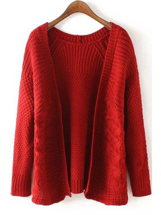 outfits Hemp Flowers Pattern Long Sleeve Cardigan - RED ONE SIZE(FIT SIZE XS TO M)