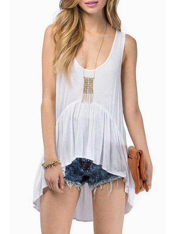 shop Scoop Neck High Low Ruffle Sleeveless Tank Top - WHITE S