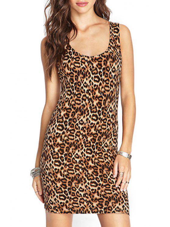 ladies Leopard Pattern Backless Sleeveless Dress - LEOPARD S