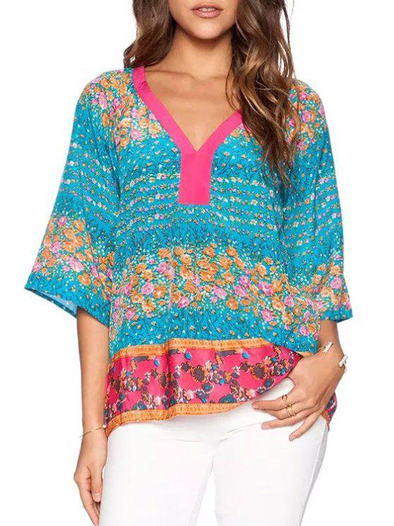 latest Tiny Floral Print 3/4 Sleeves Blouse - AS THE PICTURE S