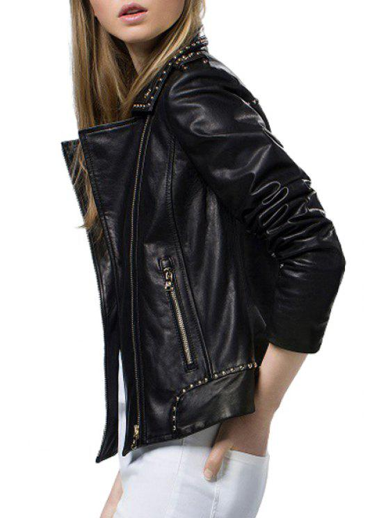 affordable Black Lapel Neck Faux Leather Jacket - BLACK S