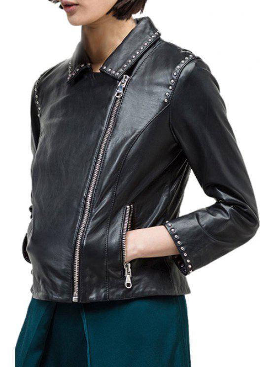 women Black Faux Leather Turn-Down Collar Jacket - BLACK S