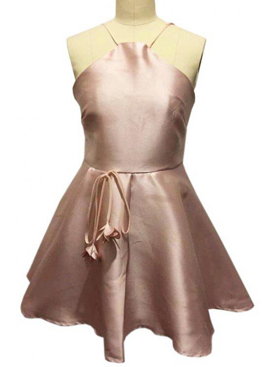 trendy Spaghetti Strap Backless Stereo Floral Embellished Dress - PINK S