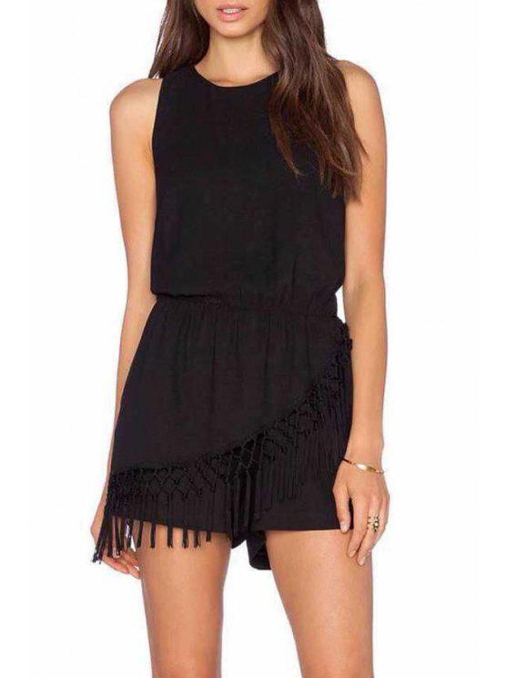 shops Backless Tassel Splicing Sleeveless Romper - BLACK S