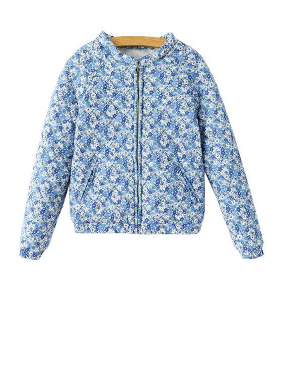 trendy Blue and White Porcelain Print Cotton Coat - BLUE S
