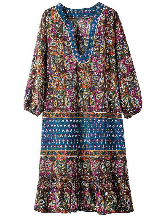 chic Paisley Print V Neck 3/4 Sleeve Dress - BLUE S