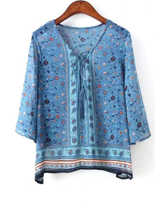 buy Floral Print V Neck 3/4 Sleeve Blue Blouse - BLUE S