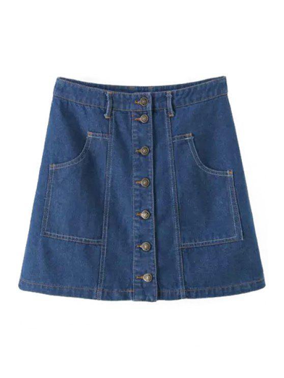 unique Blue Denim High Waited A Line Skirt - BLUE S
