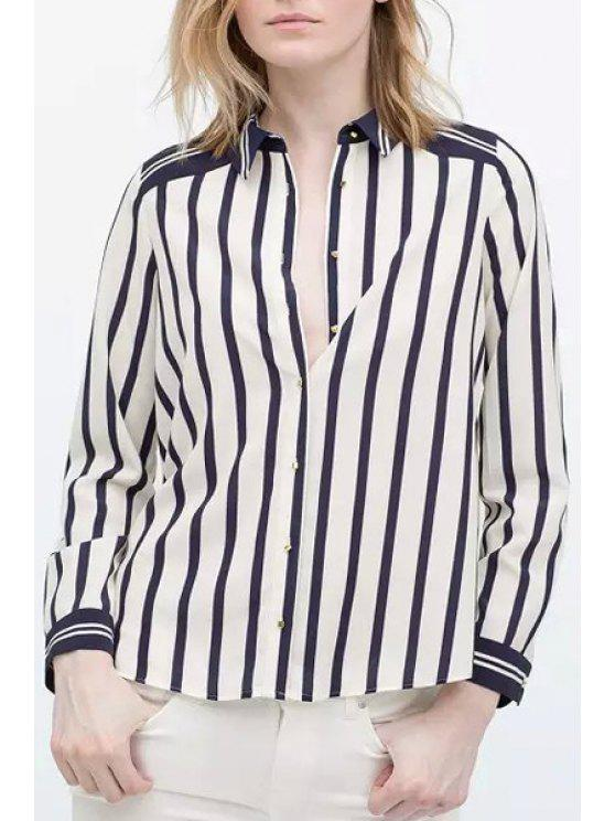 womens Stripes Turn-Down Collar Long Sleeve Shirt - WHITE AND BLACK S