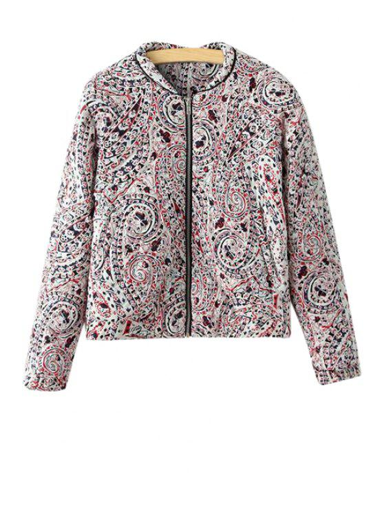 unique Paisley Print Zippered Two Pocket Cotton Coat - WHITE S