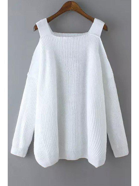 online Solid Color Kintted Side Slit Loose Sweater - WHITE ONE SIZE(FIT SIZE XS TO M)