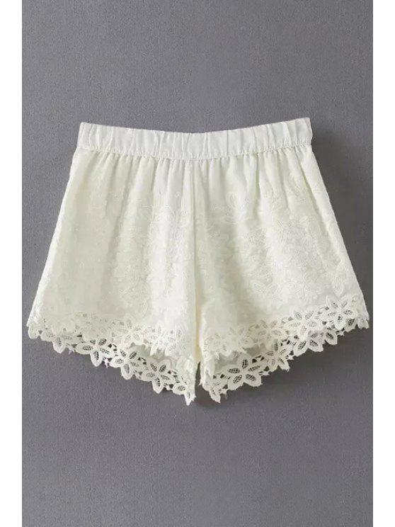 best Floral Pattern Lace Splicing Shorts - WHITE S
