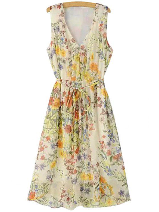 women Floral Print V Neck Sleeveless Midi Dress - BEIGE S
