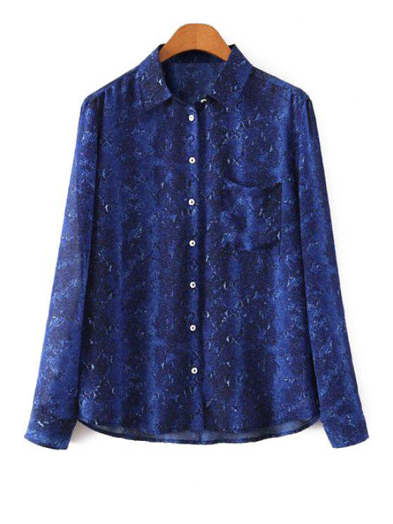 shops Polo Collar Snake Pattern Long Sleeve Shirt - BLUE S