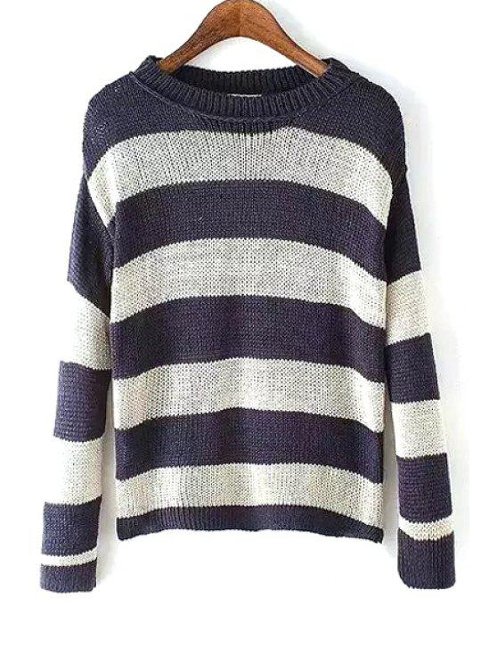buy Jewel Neck Stripe Color Block Sweater - BLUE AND WHITE S