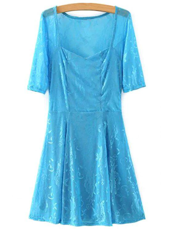 outfit Lace V Neck Half Sleeve A Line Dress - AZURE S