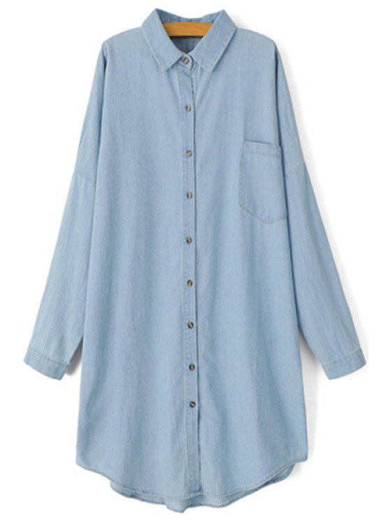 unique Bleach Wash Solid Color Long Sleeve Shirt - BLUE ONE SIZE(FIT SIZE XS TO M)