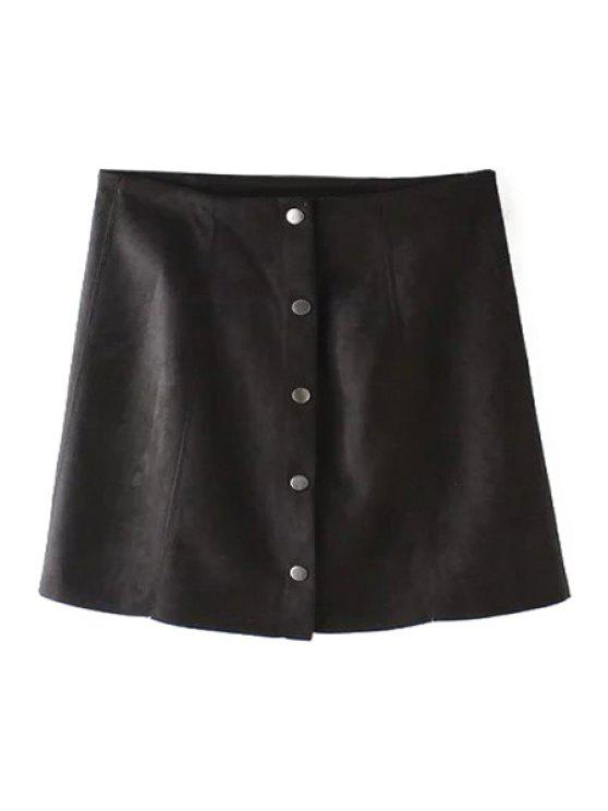 buy Faux Leather High Wasited A Line Skirt - BLACK S