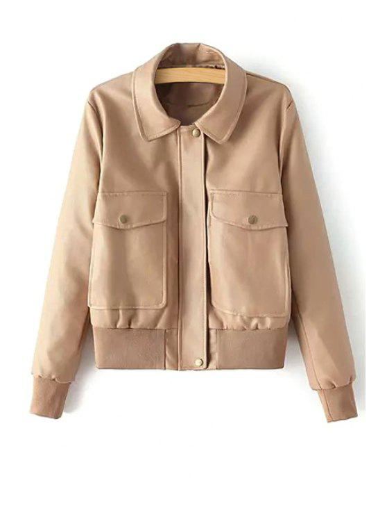 best Solid Color Big Pocket Faux Leather Jacket - KHAKI S