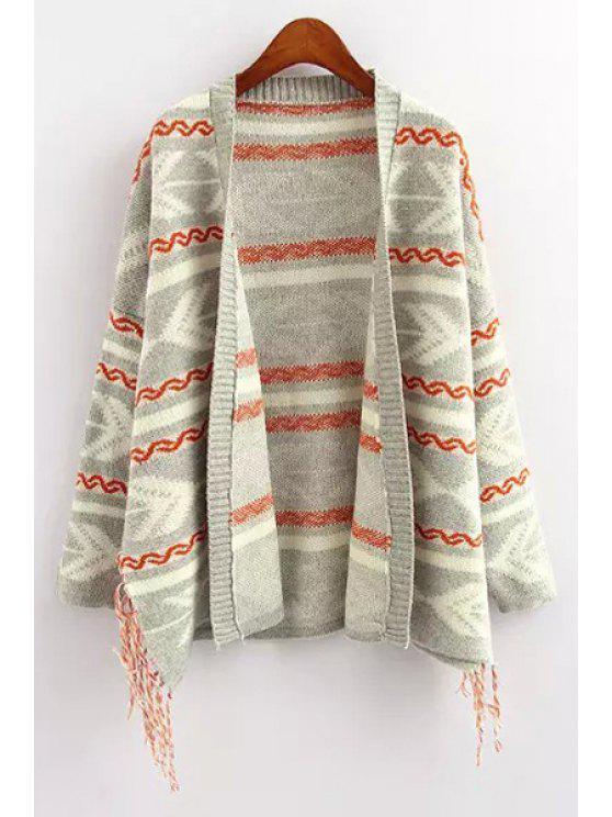 ladies Geometric Pattern Fringe Long Sleeve Cardigan - LIGHT GRAY ONE SIZE(FIT SIZE XS TO M)