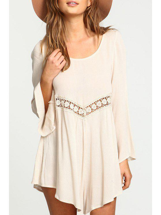 shop Lace Spliced Flare Sleeve Dress - OFF-WHITE S