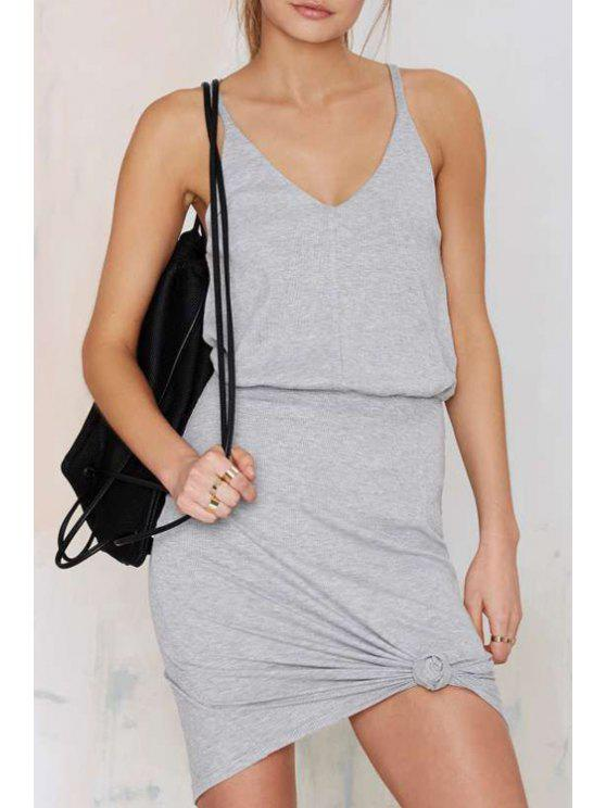women Light Gray Spaghetti Strap Backless Dress - LIGHT GRAY S