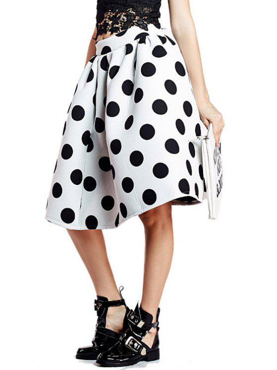 online Polka Dot A-Line Ruffled Midi Skirt - WHITE AND BLACK L