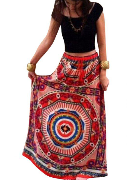 shop High-Waisted Geometric Print Maxi Skirt - RED S