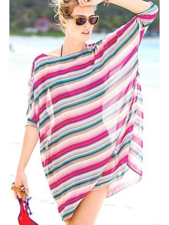online Colorful Stripes Chiffon Straight Dress - COLORMIX ONE SIZE(FIT SIZE XS TO M)