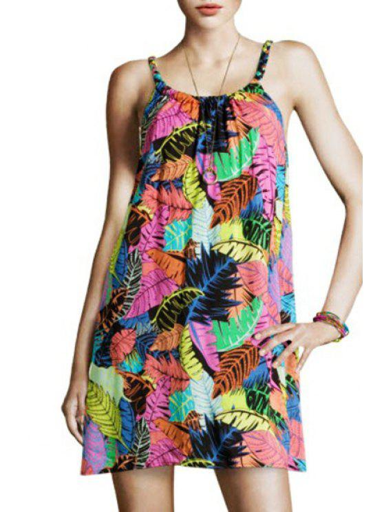 new Spaghtti Strap Full Leaf Print A-Line Sundress - COLORMIX ONE SIZE(FIT SIZE XS TO M)