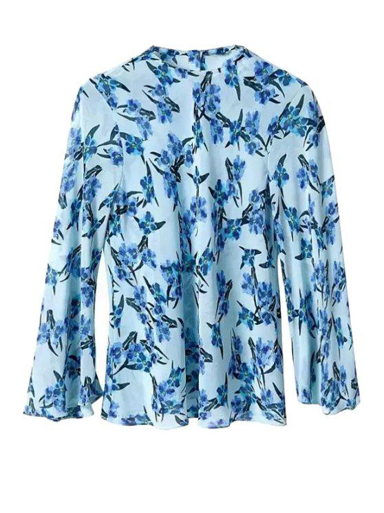 women Floral Print Button Design Chiffon Blouse - BLUE S