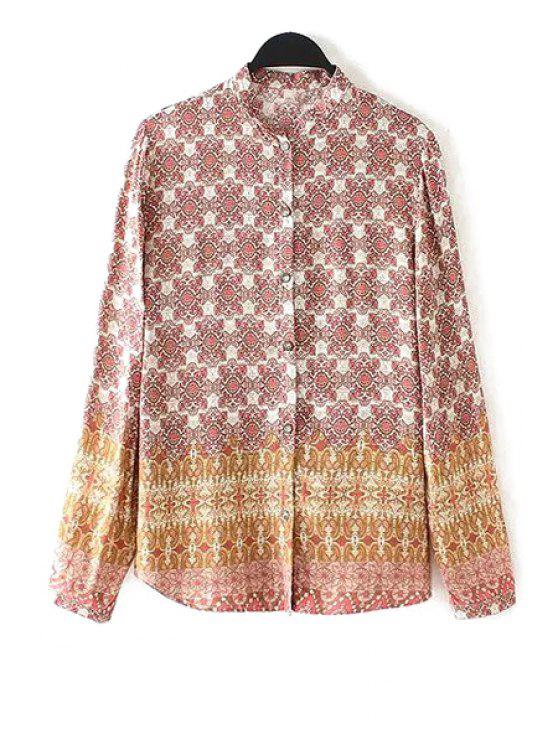 new Floral Printed Long Sleeve Shirt - COLORMIX S