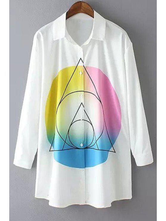 latest Geometric Printed Long Sleeve Shirt - WHITE S