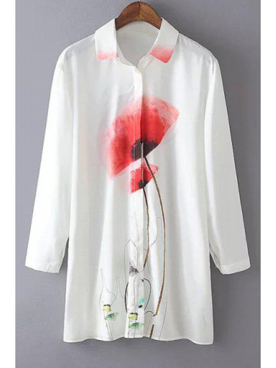 unique Red Floral Print Long Sleeve Shirt - WHITE S