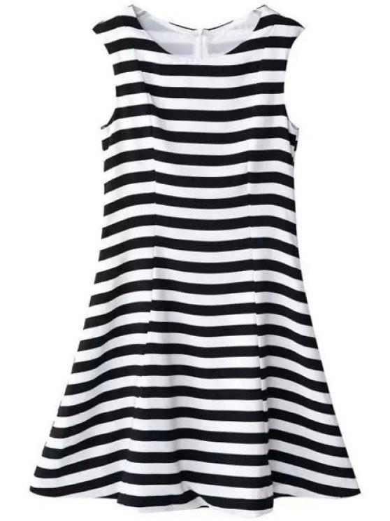affordable Stripes Scoop Neck Flare Sundress - WHITE AND BLACK S