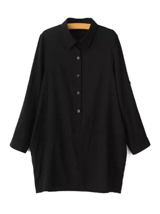 buy Solid Color Button Design Loose-Fitting Blouse - BLACK L