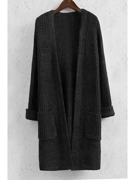 buy Collarless Solid Color Pocket Long Sleeve Cardigan - BLACK M