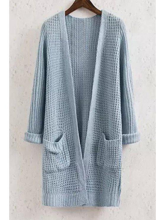 Collarless Solid Color Pocket Long Sleeve Cardigan - BLUE S