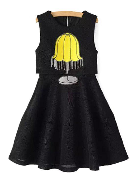 online Table Lamp Embroidery A-Line Layered Dress - BLACK S