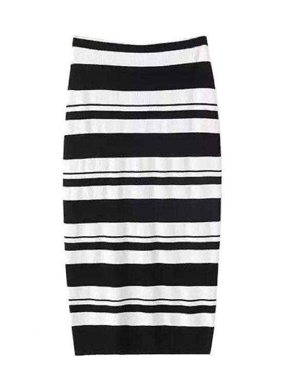 shop White Black Stripe Skirt - WHITE AND BLACK ONE SIZE(FIT SIZE XS TO M)