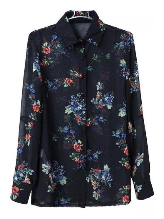 hot Floral Turn Down Collar Long Sleeve Shirt - BLACK S