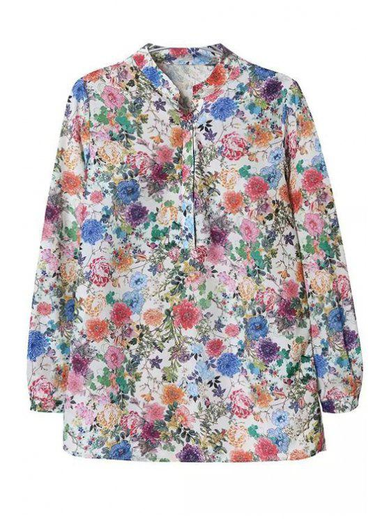 trendy Floral Print Stand Neck Long Sleeve Blouse - AS THE PICTURE S