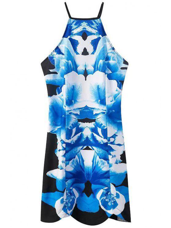 outfits Blue Print Spaghetti Straps Backless Dress - BLUE S
