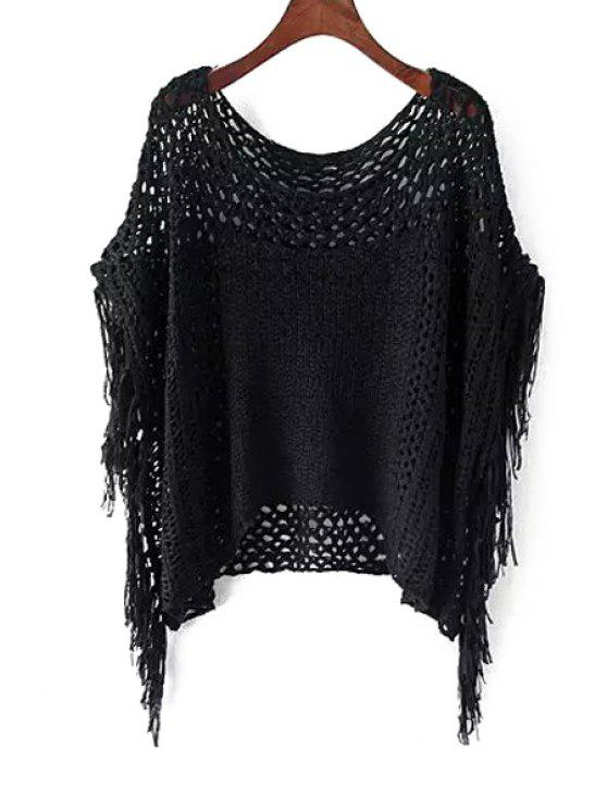 buy Openwork Fringe Batwing Sleeve Sweater - BLACK ONE SIZE(FIT SIZE XS TO M)