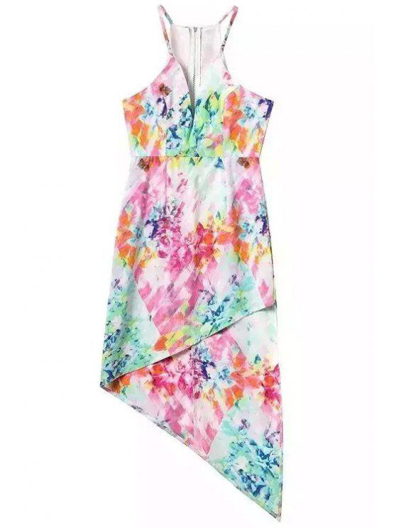 best Colored Print Spaghetti Straps Dress - COLORMIX S