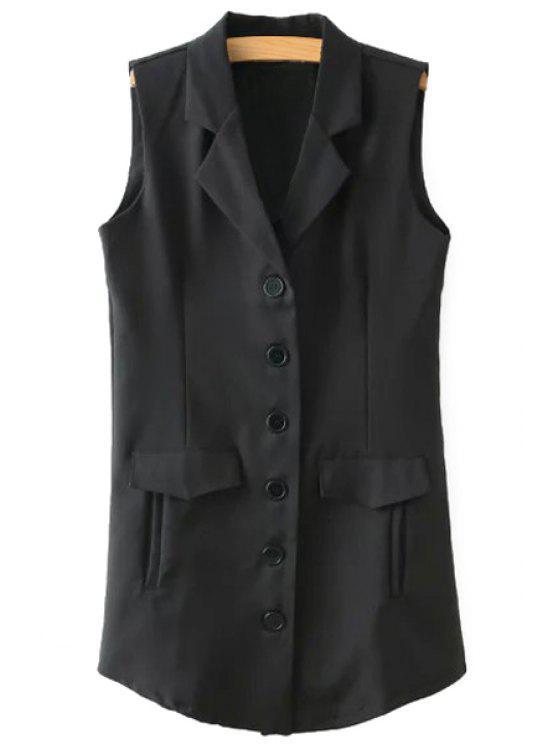 fancy Lapel Black Single-Breasted Waistcoat - COLORMIX S
