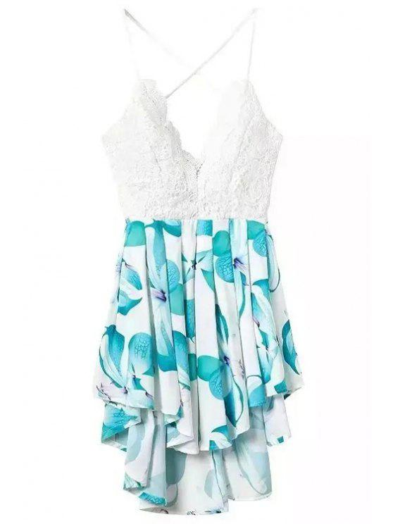 hot Floral Print Spliced Spaghetti Strap Playsuit - TURQUOISE S