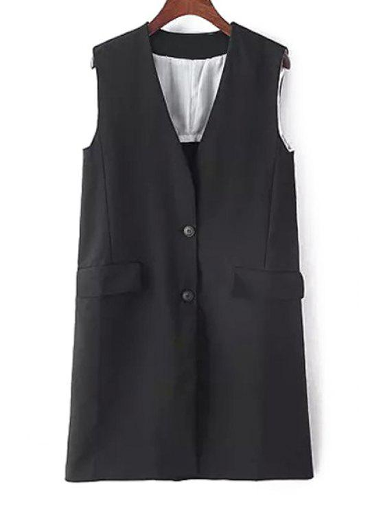 trendy Solid Color Two Buttons Sleeveless Waistcoat - BLACK ONE SIZE(FIT SIZE XS TO M)